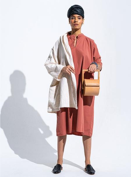 Atelier Delphine Crisp Sleek Cotton Venice Dress - Bordeaux
