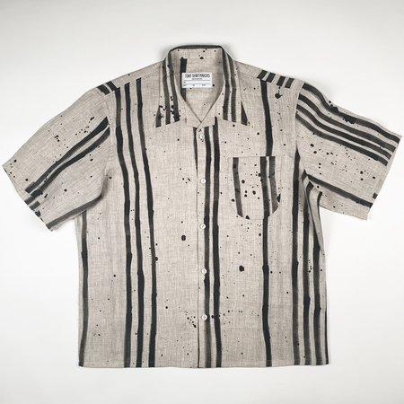 Tony Shirtmakers Asymmetrical Monochromatic Hand Painted Brush Stroke Shirt - Black/Oatmeal