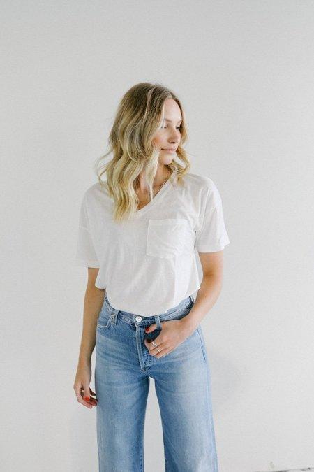 Mate the Label Zeke V Neck Pocket T-Shirt - White