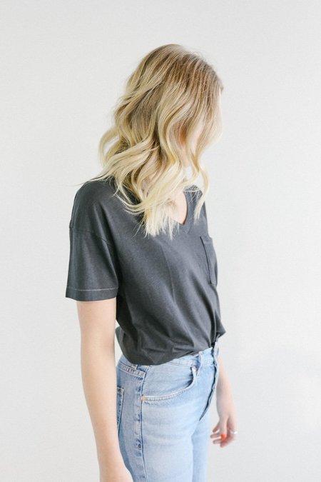 Mate the Label Zeke V Neck T-Shirt - Vintage Black