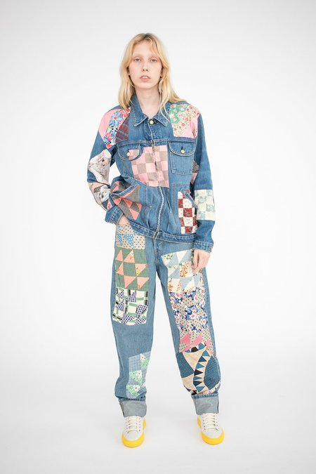 B Sides Claude High Slouch Jean - Marble Blue Wash