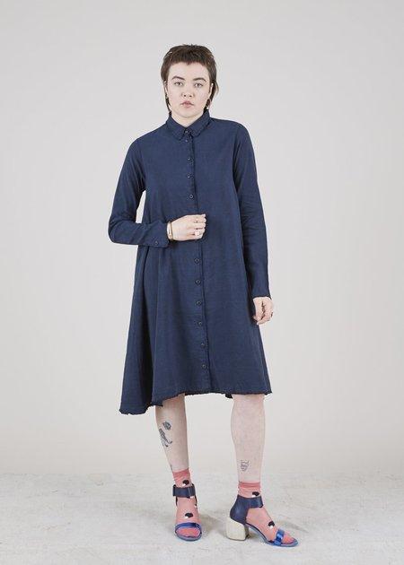 Hannes Roether Frou Linen Blend Dress - navy