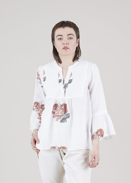Hannes Roether Taranee Floral Peasant Blouse - white/roses
