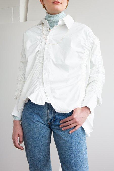 Beulah Gathered Asymmetrical Shirt