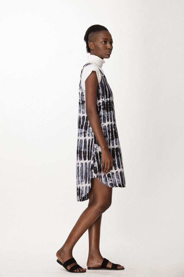 Osei-Duro Runa Dress in Black Chalk