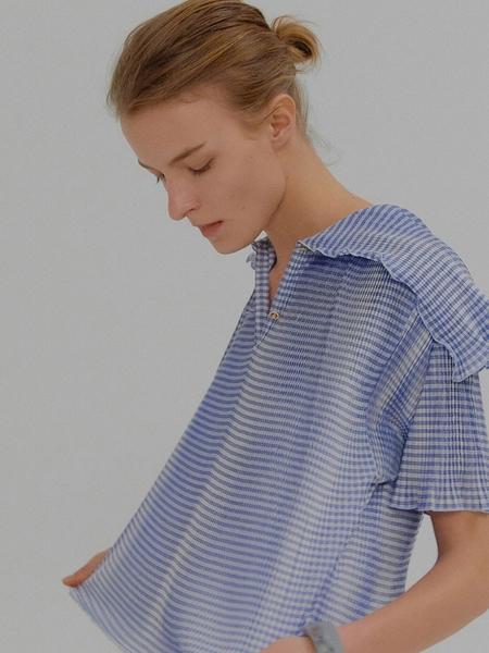 EENK Mona Pleated Short Sleeve Top - Blue Check