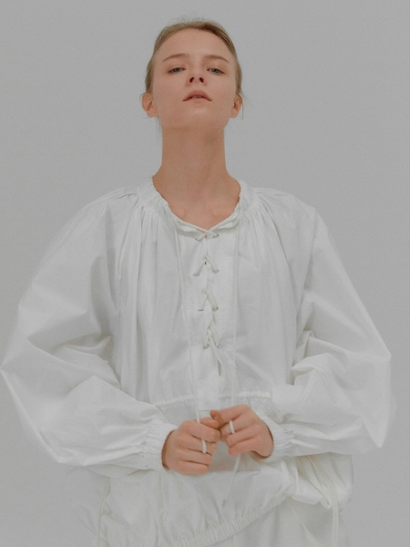 Eenk Waist String Muriel Long Sleeve Tunic Blouse - White