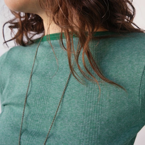 Curator Juniper Boatneck in Green/Blue Stripe