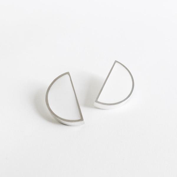 Karenn.la White Semi Circle Earring