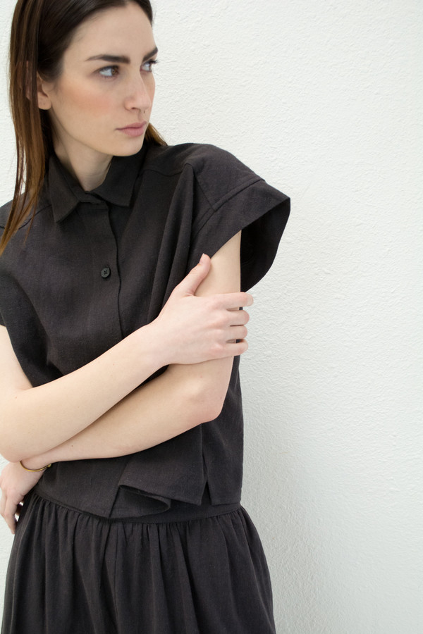 Micaela Greg Black Pieced Sleeve Button Up