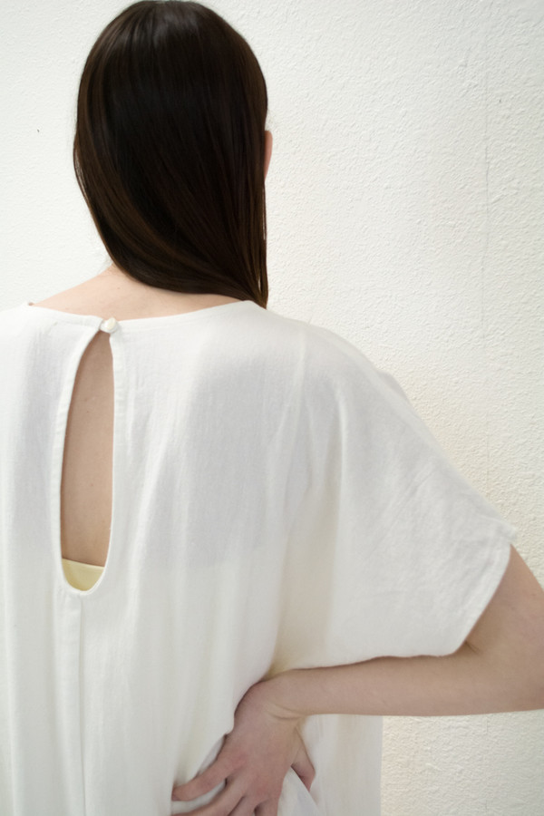 Micaela Greg White Keyhole Dress