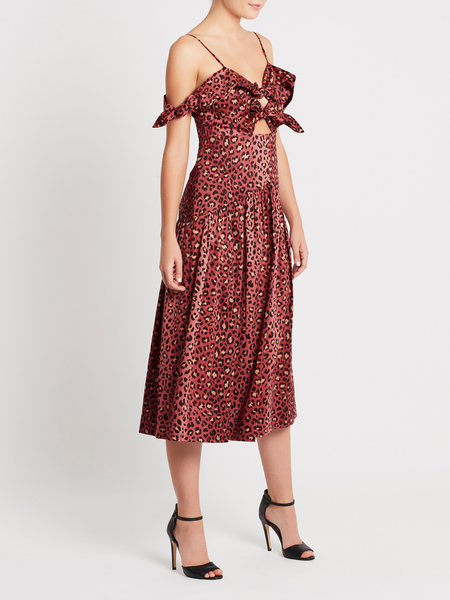 Rebecca Taylor Leopard Bow Dress - Henna Animal