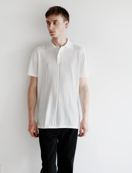 Meticulous Knitwear Window Pane Pattern Stitch Polo - white