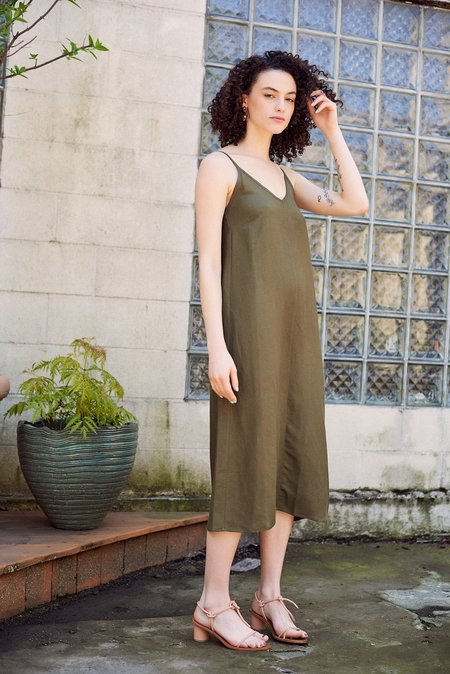 First Rite V Camisole Dress - Olive