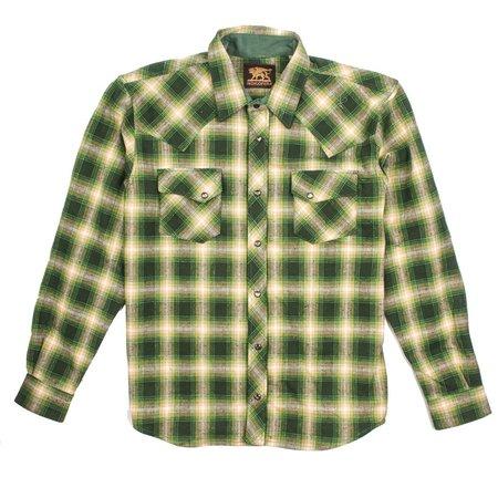 Indigofera Dawson Selvedge Flannel - Green Beige white