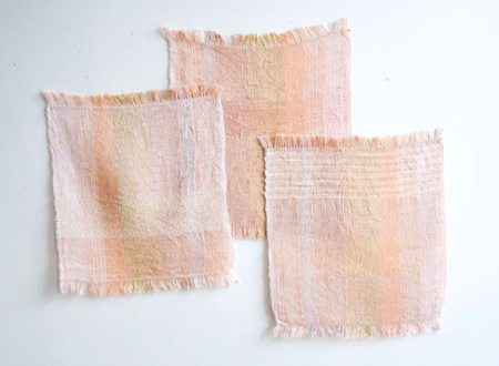 Ana Isabel Textiles HANDWOVEN LINEN SQUARE - pink