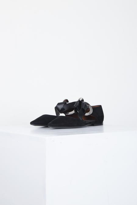 Proenza Schouler D'Orsay Front-tie Suede Flats - Black