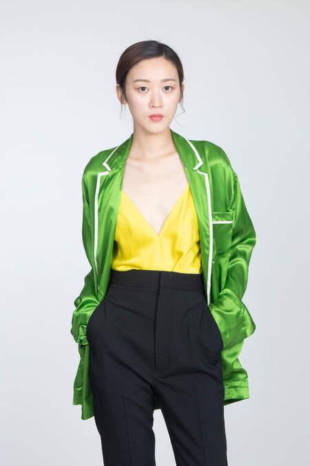 HAIDER ACKERMANN Pyjama Shirt - Dali Chartreuse/Antibes Cream