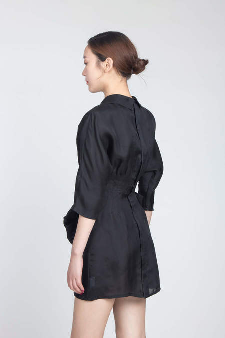 Miu Miu Gazar Mini Dress with Rose - BLACK