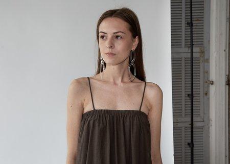 Black Crane Double Cami Dress - Charcoal