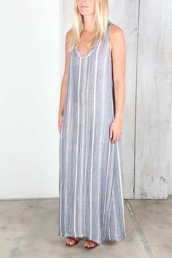 RAQUEL ALLEGRA BLUE STRIPE GAUZE TANK DRESS