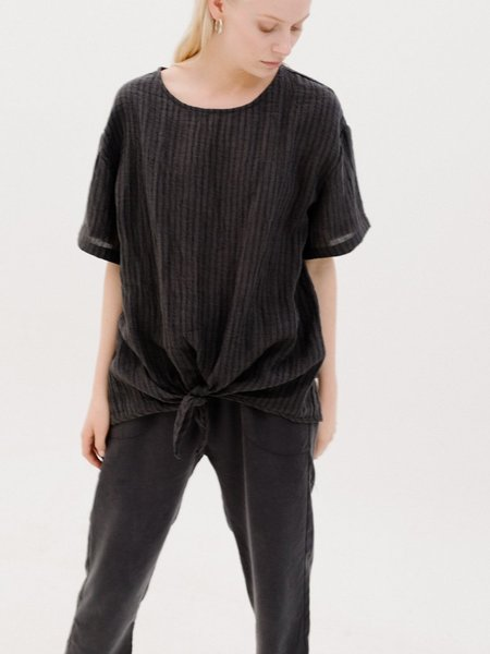 Priory Linen Loose Tie Tee - Charcoal Stripe