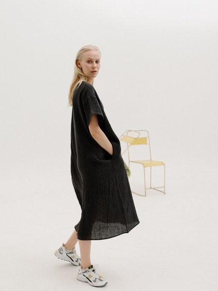 Priory Linen T Shirt Dress - Charcoal Stripe