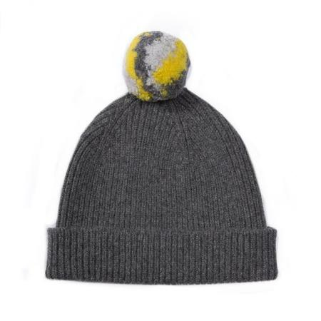 GREEN THOMAS Bobble Hat With Pom - Grey