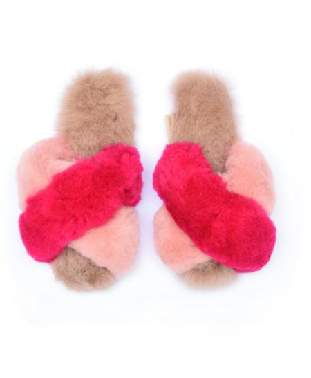 Ariana Bohling Criss Cross Alpaca Slipper - Fuschia/Pink/Blush