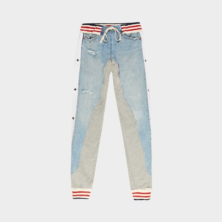 Greg Lauren 50/50 Borg Pant - Denim Blue