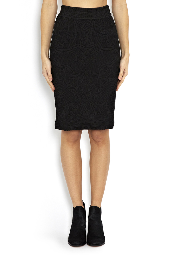Rodebjer Mandi Black Embossed Pencil Skirt
