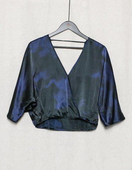 Berenik Draping Silk Top - Blue/Black Print