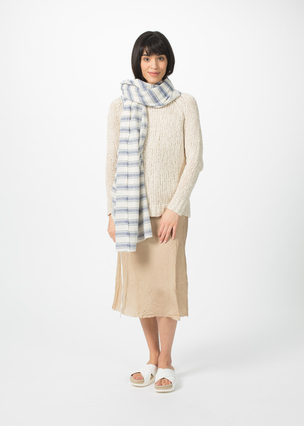 Hannes Roether Lightweight Cotton Stripe Scarf - Blue and White