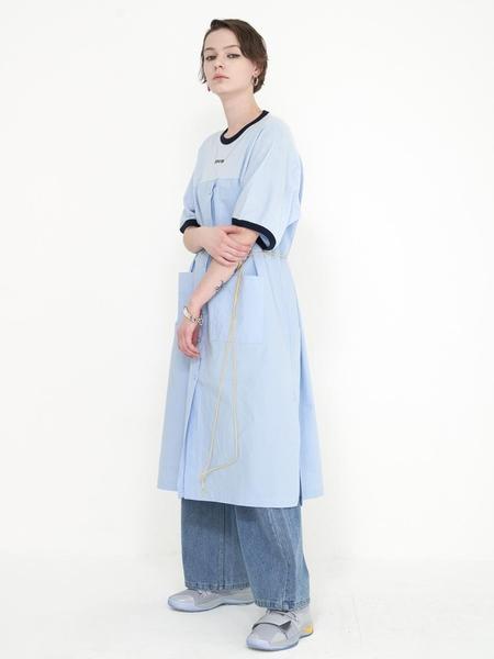 Mimicawe Necklace Long Shirt Dress - Blue