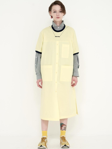 Mimicawe Necklace Long Shirt Dress - Lemon