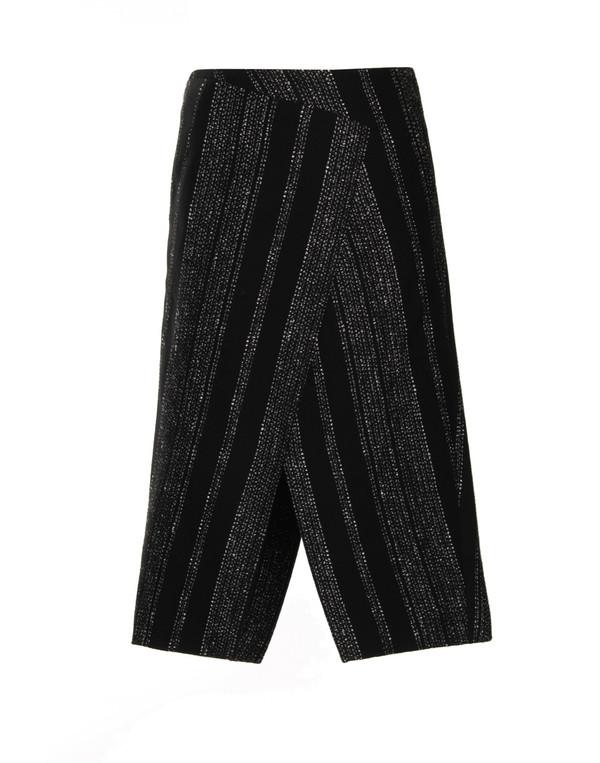 Apiece Apart Livia Blanket Slit Skirt in Black Lezat Stripe
