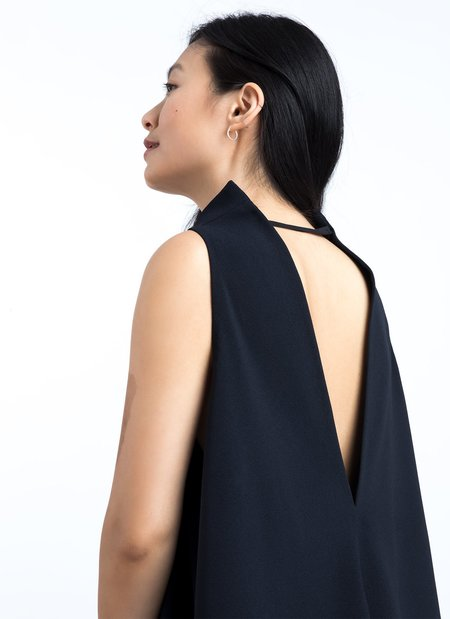 KAAREM Punica Sleeveless V Back Dress - Black Blue