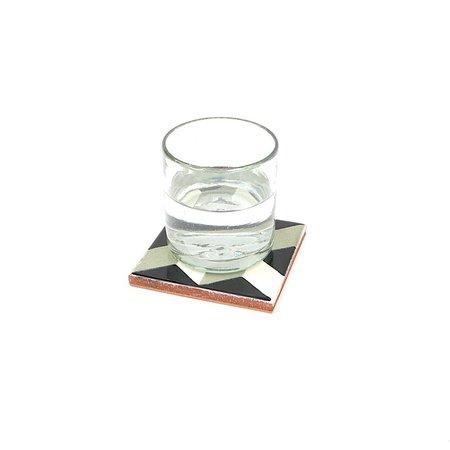 Made Solid Talavera Tile Coaster Set - Black/Grey