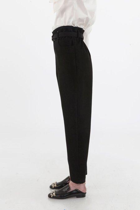 ISA ARFEN Paper Bag Trouser with Boderie Trim - Black