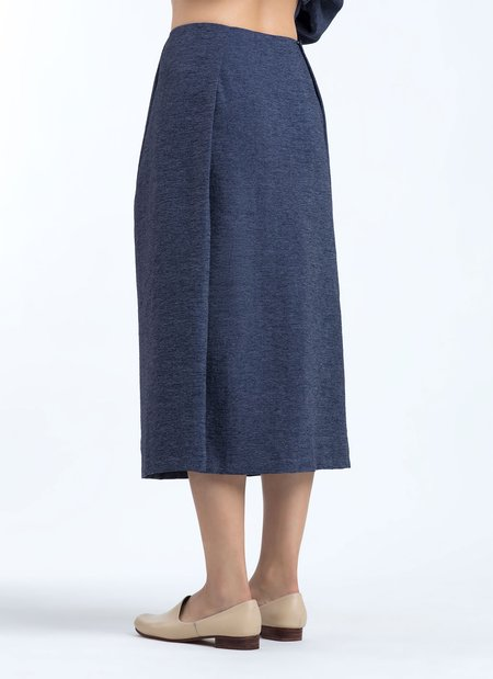 KAAREM Patches Textured Midi Skirt - Dark Blue