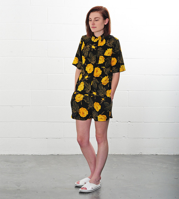 Ganni Fusion Rose Lee Silk Shorts