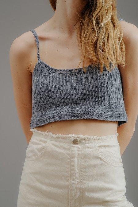First Rite Crochet Crop Tank - Sky Blue