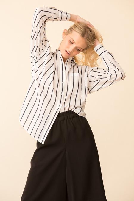 ATM Stripe Cotton Linen BF Shirt - White/Midnight