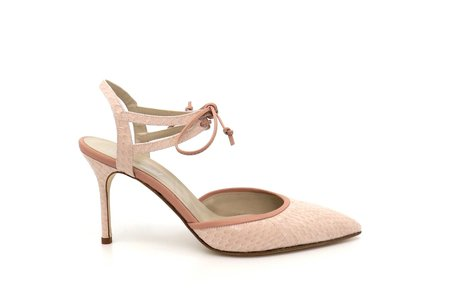 Jessica Bedard Elle Ankle Tie Pump - Blush snakeskin