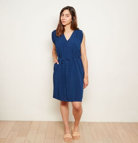 29e2d65b8df The ODELLS Shoulder Pleat Dress - Marine ...