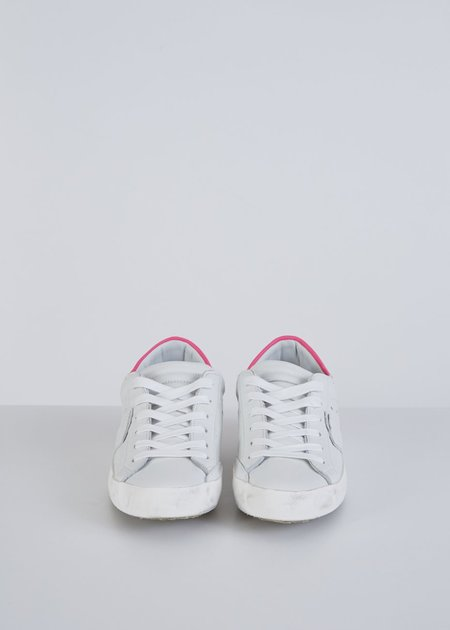 Philippe Model Classic Low Top Sneaker - white/neon pink