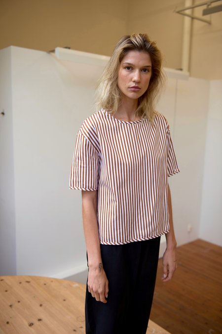 Priory Shi Poplin Tee - Orange/White Stripe