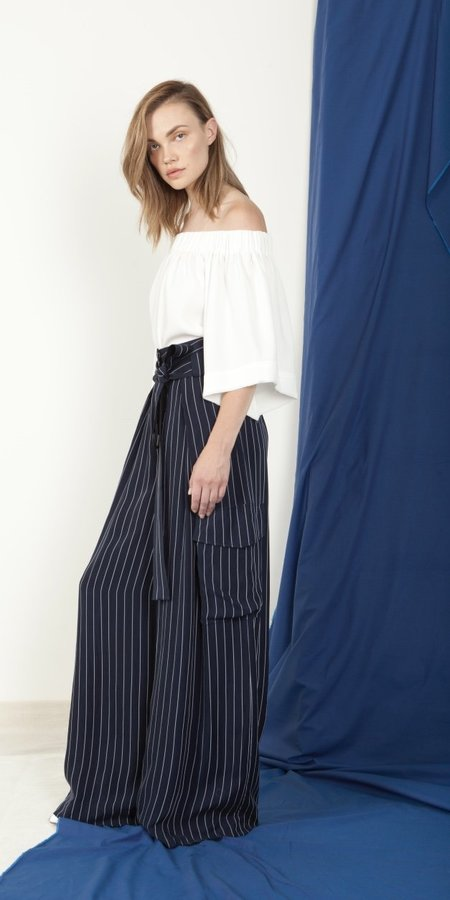 SCHAI Magnum Belted Trouser - Ink/White