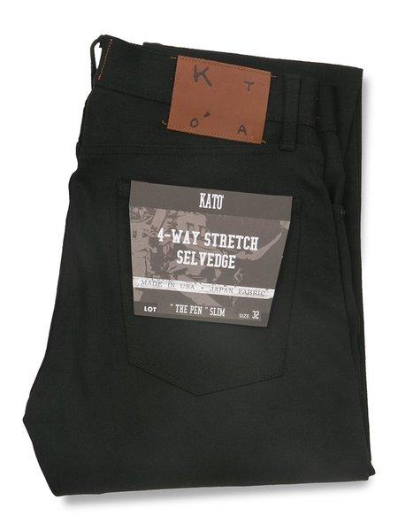KATO The Pen Slim Raw Stretch Selvedge Jeans - Black