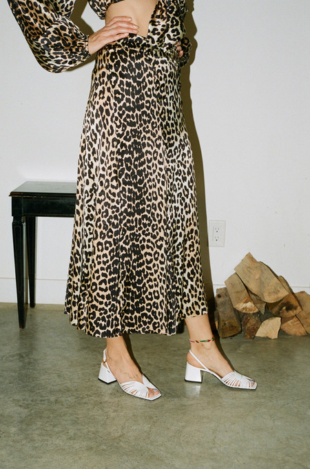 Ganni Blakely Silk Skirt - Leopard